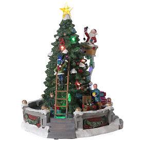 Sapin Noël village Père Noël nacelle lumières musique 25x20x20 cm s4