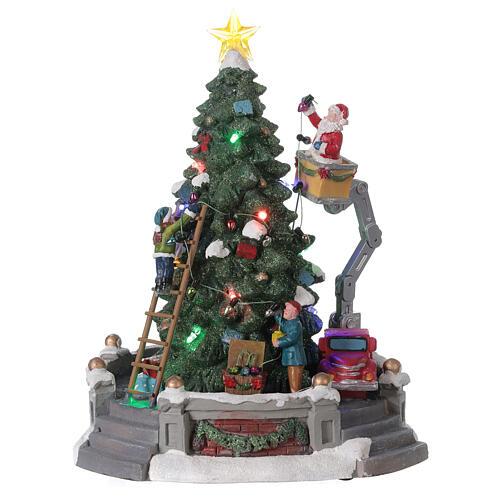 Sapin Noël village Père Noël nacelle lumières musique 25x20x20 cm 1