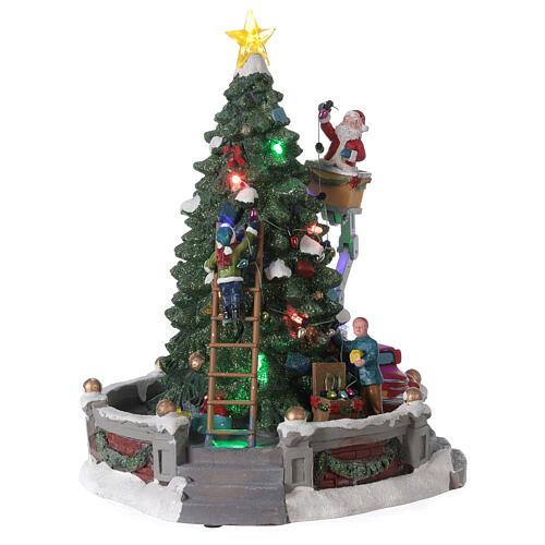 Sapin Noël village Père Noël nacelle lumières musique 25x20x20 cm 4