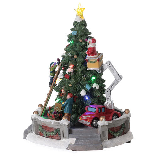 Christmas village Santa Claus crane lights music 25x20x20 cm 3