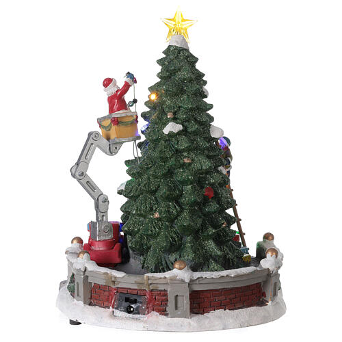 Christmas village Santa Claus crane lights music 25x20x20 cm 5