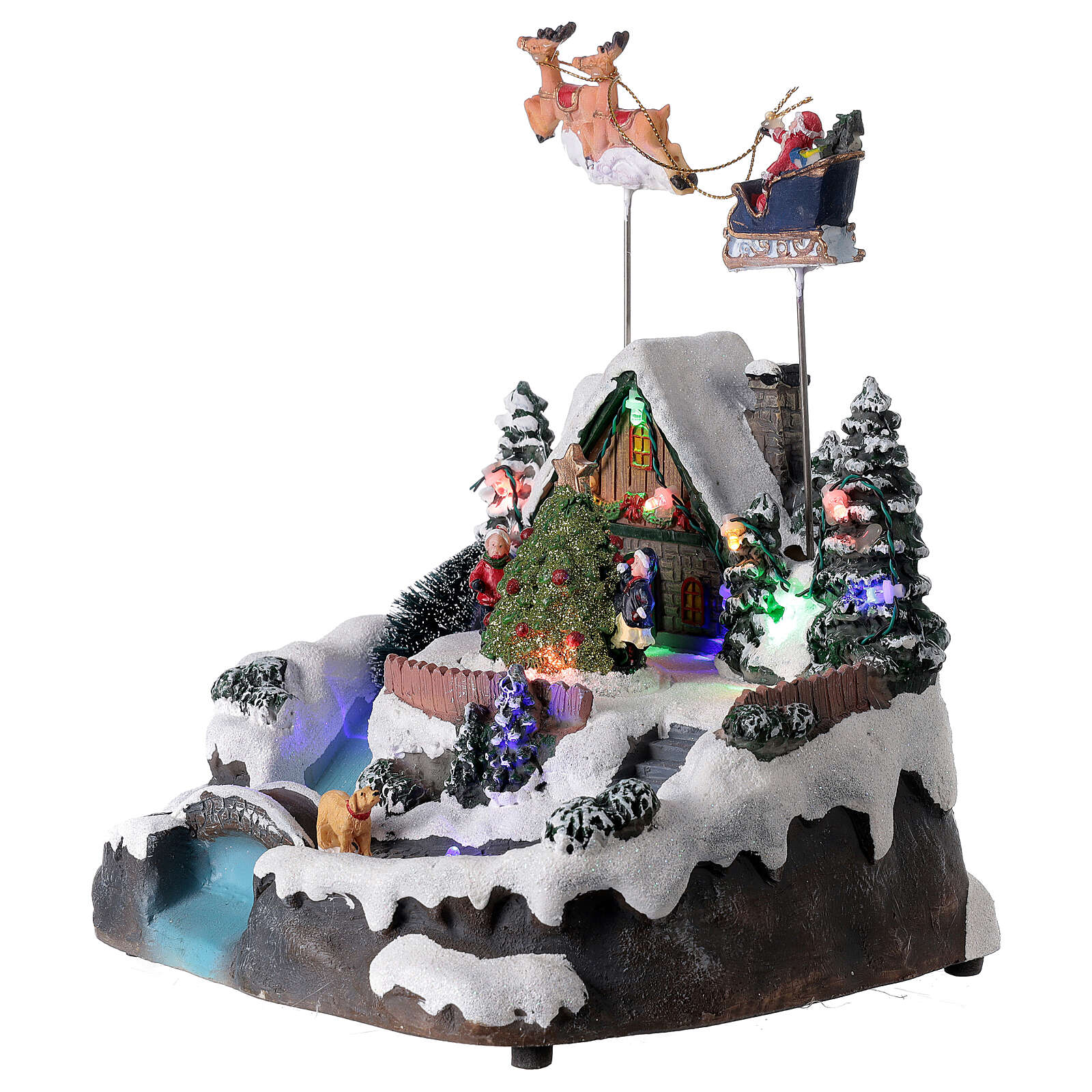 Santa Claus Christmas village lights music torrent 25x20x20 cm 3