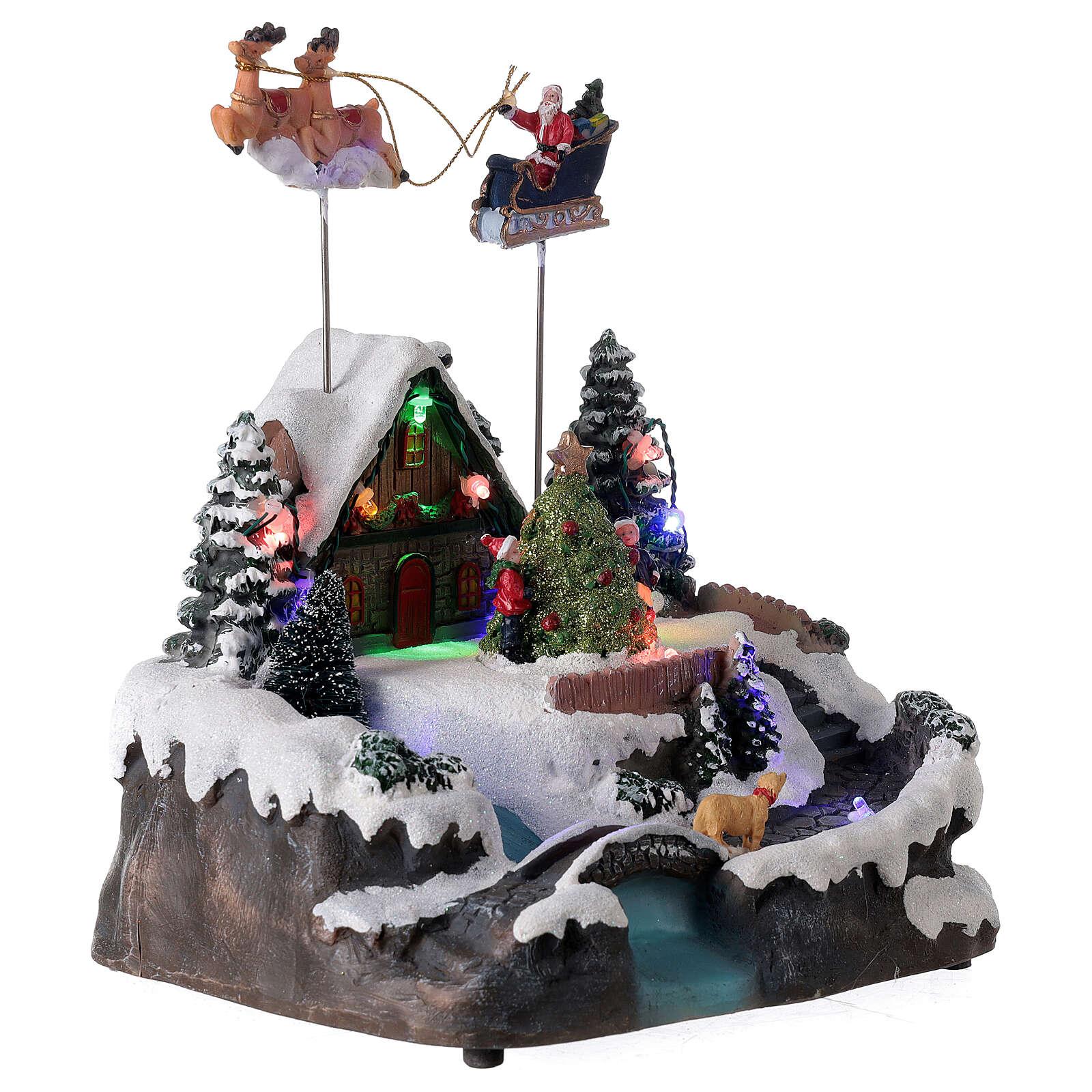 Villaggio Babbo Natale luci musica torrente 25x20x20 cm 3