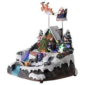 Villaggio Babbo Natale luci musica torrente 25x20x20 cm s3