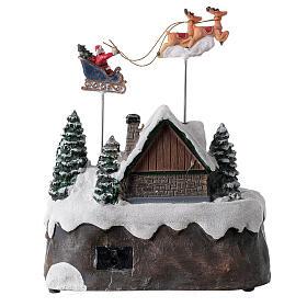Villaggio Babbo Natale luci musica torrente 25x20x20 cm s5