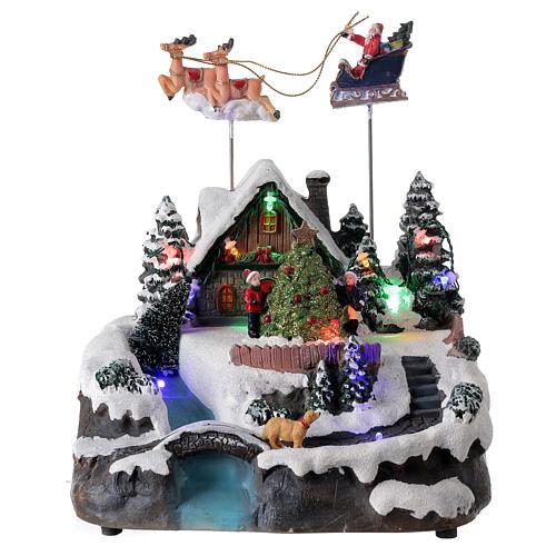 Villaggio Babbo Natale luci musica torrente 25x20x20 cm 1