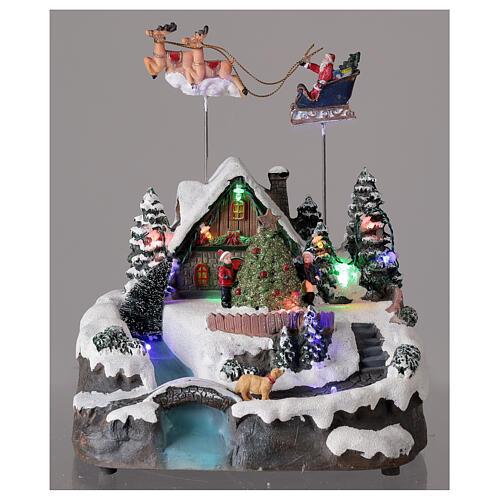 Villaggio Babbo Natale luci musica torrente 25x20x20 cm 2