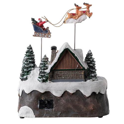 Villaggio Babbo Natale luci musica torrente 25x20x20 cm 5