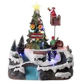 Christmas village decorating tree music LED multicolored 25x20x20 cm s1