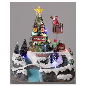 Christmas village decorating tree music LED multicolored 25x20x20 cm s2