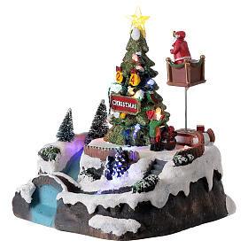 Christmas village decorating tree music LED multicolored 25x20x20 cm s3