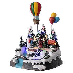 Christmas village children hot air balloon lights music 25x20x20 cm s3