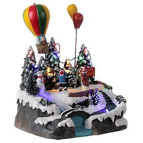 Christmas village children hot air balloon lights music 25x20x20 cm s4
