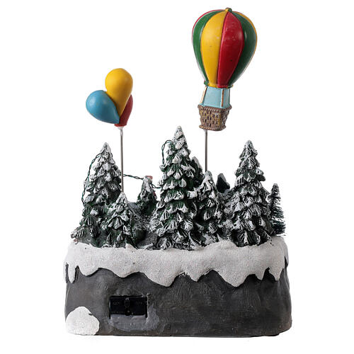 Christmas village children hot air balloon lights music 25x20x20 cm 5