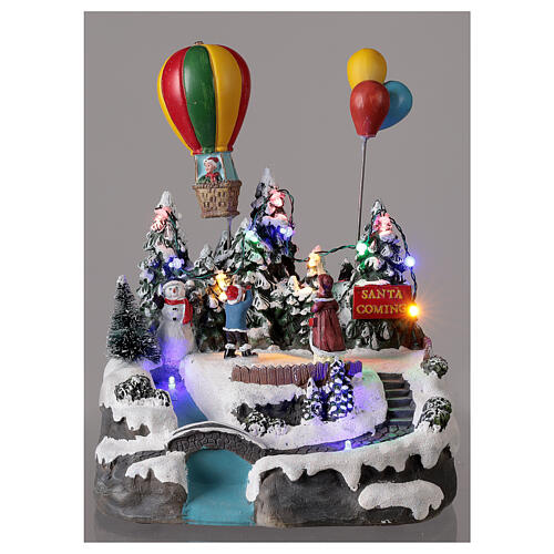 Christmas village children hot air balloon lights music 25x20x20 cm 2