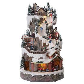 Christmas village ski slope train snow LED lights music 40x20x25 cm s1