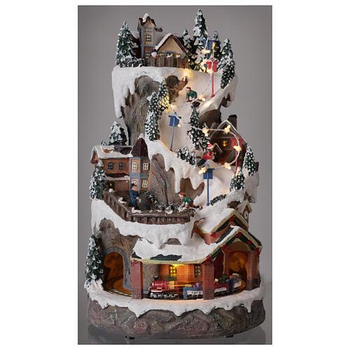 Christmas village ski slope train snow LED lights music 40x20x25 cm 2
