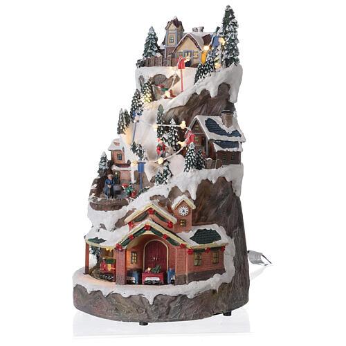 Christmas village ski slope train snow LED lights music 40x20x25 cm 3