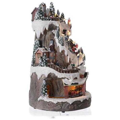 Christmas village ski slope train snow LED lights music 40x20x25 cm 4