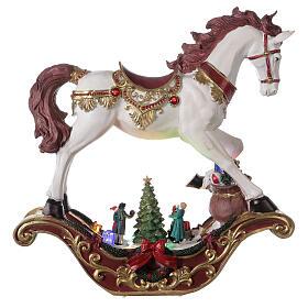 Christmas village rocking horse LED lights music 45x45x15 cm s5