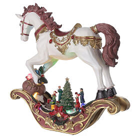 Village Noël cheval à bascule LED musique 45x45x15 cm s3