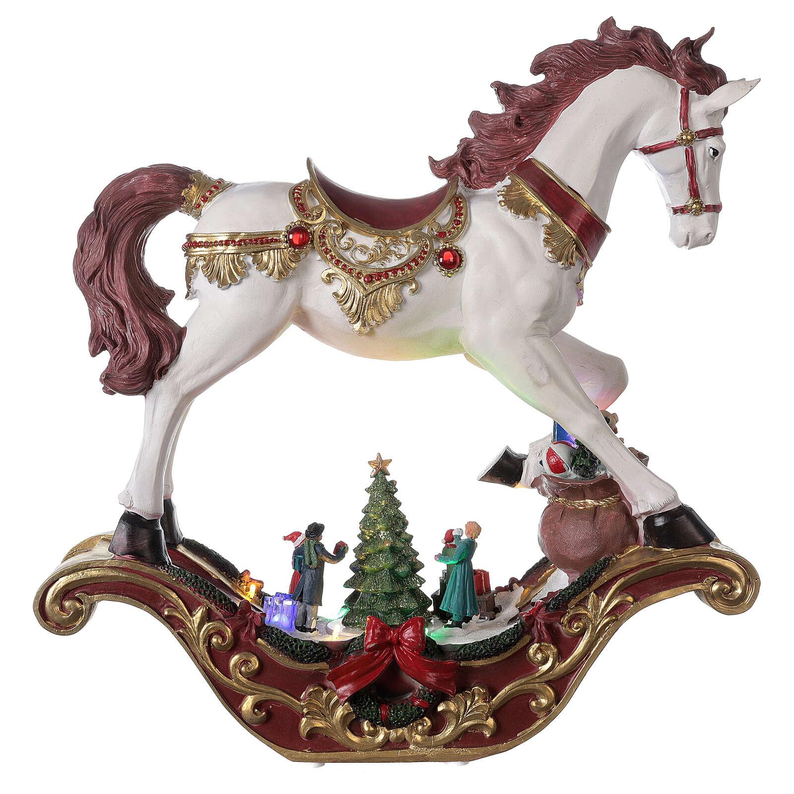 Christmas village rocking horse LED lights music 45x45x15 cm 3