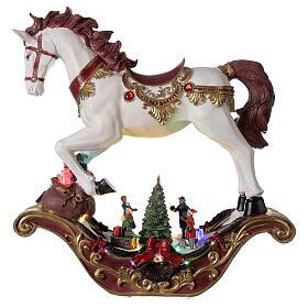 Christmas village rocking horse LED lights music 45x45x15 cm s1