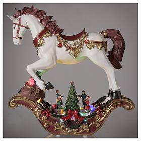 Christmas village rocking horse LED lights music 45x45x15 cm s2