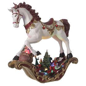 Christmas village rocking horse LED lights music 45x45x15 cm s4
