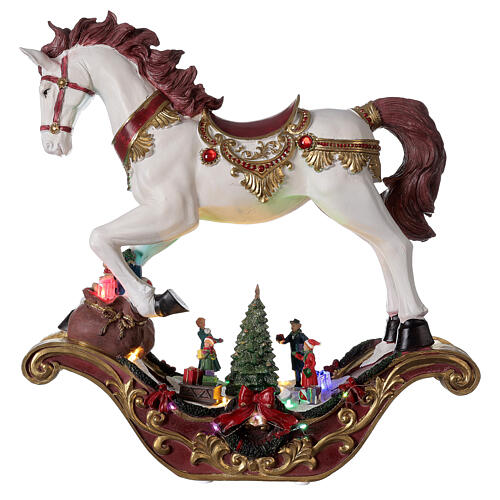 Christmas village rocking horse LED lights music 45x45x15 cm 1