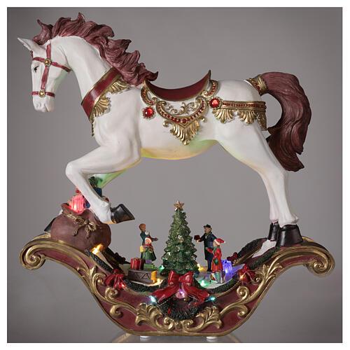 Christmas village rocking horse LED lights music 45x45x15 cm 2