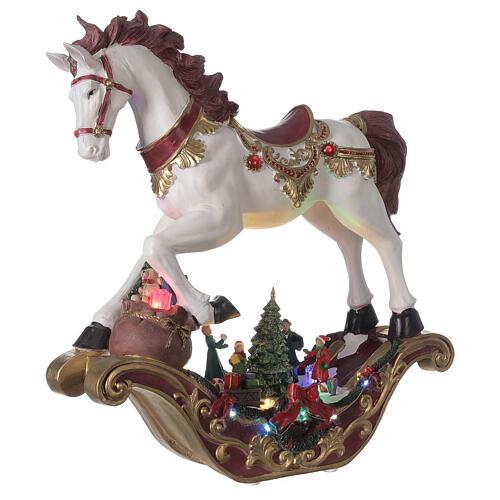 Christmas village rocking horse LED lights music 45x45x15 cm 4
