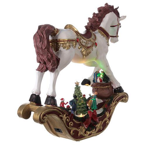 Christmas village rocking horse LED lights music 45x45x15 cm 6