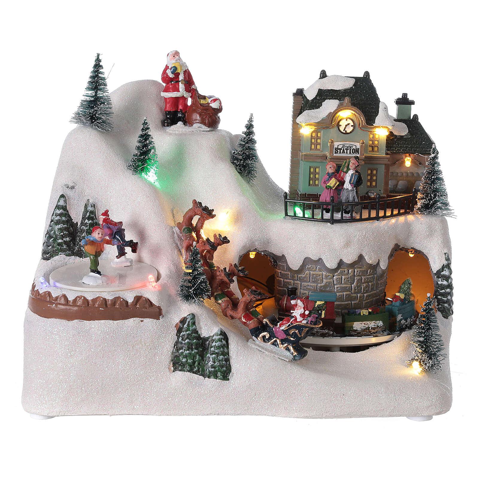 Village traîneau rennes Père Noël LED musique 20x25x15 cm 3