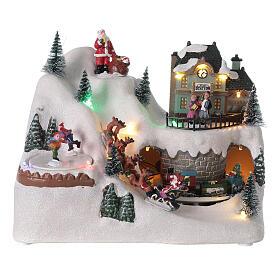 Village traîneau rennes Père Noël LED musique 20x25x15 cm s1