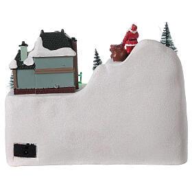 Village traîneau rennes Père Noël LED musique 20x25x15 cm s5