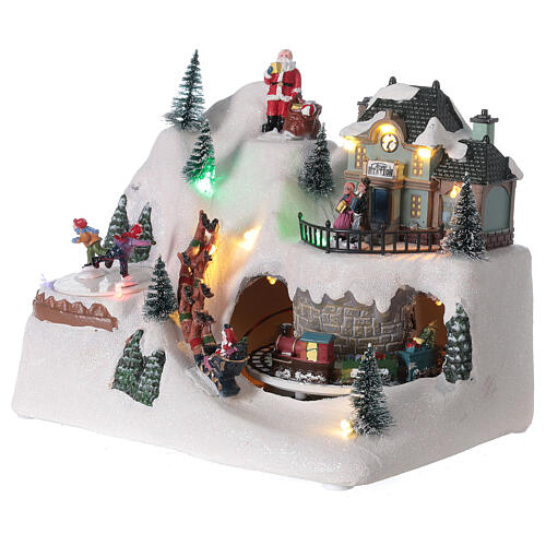 Villaggio slitta renne Babbo Natale led musica 20x25x15 cm 3