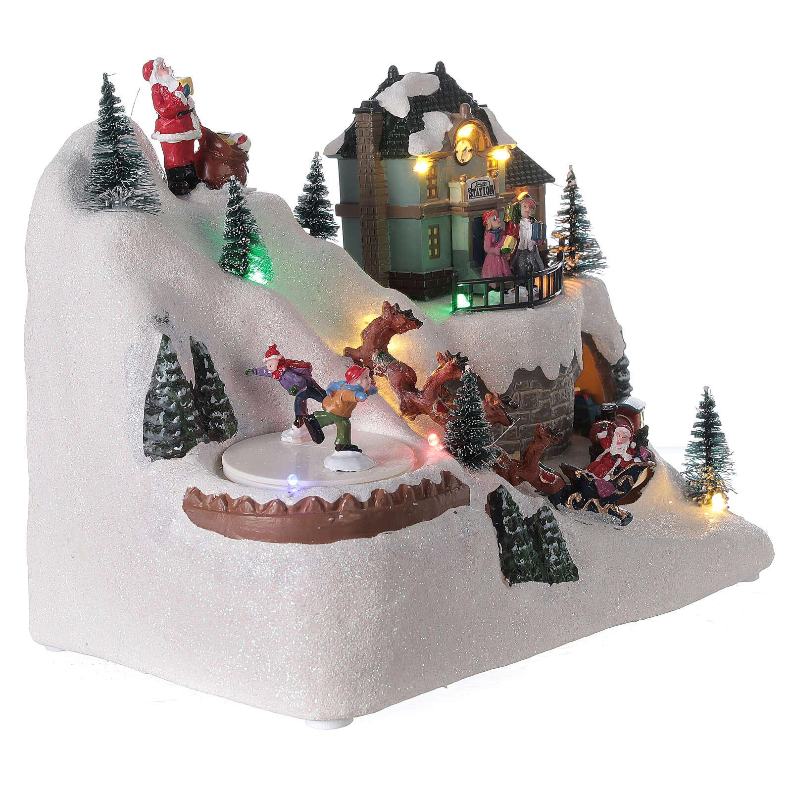 Christmas village reindeer sleigh Santa Claus LED lights music 20x25x15 cm 3