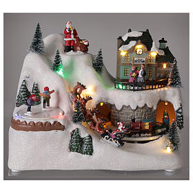Christmas village reindeer sleigh Santa Claus LED lights music 20x25x15 cm s2