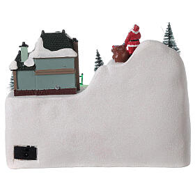 Christmas village reindeer sleigh Santa Claus LED lights music 20x25x15 cm s5