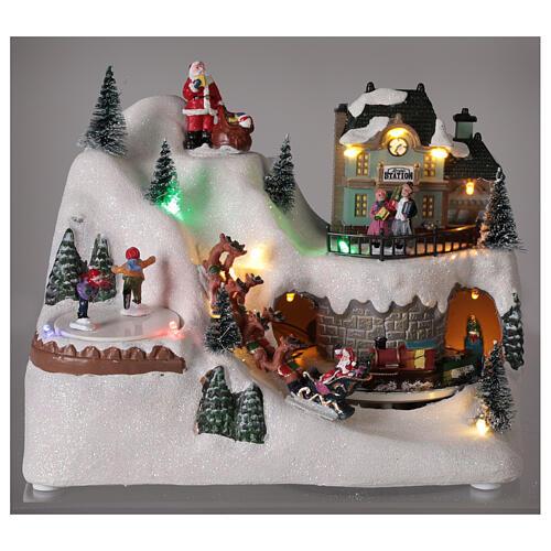 Christmas village reindeer sleigh Santa Claus LED lights music 20x25x15 cm 2