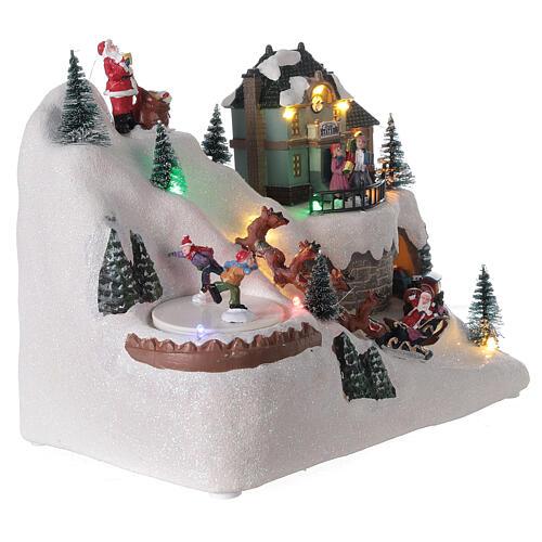 Christmas village reindeer sleigh Santa Claus LED lights music 20x25x15 cm 4