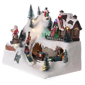 Villaggio natalizio treno slitta cavalli LED musica 20x25x15 cm s4