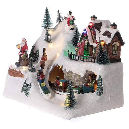 Villaggio natalizio treno slitta cavalli LED musica 20x25x15 cm 4