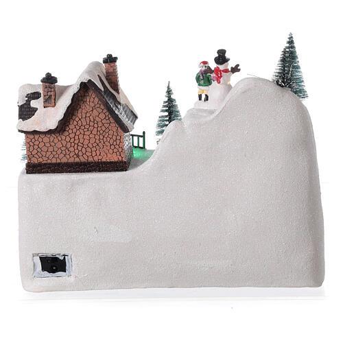 Villaggio natalizio treno slitta cavalli LED musica 20x25x15 cm 5