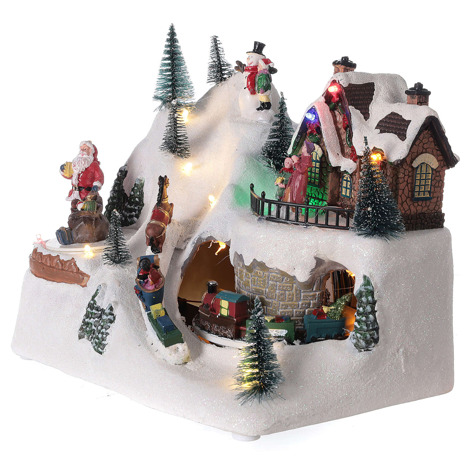 Animated Christmas village train sled horses LED music 20x25x15 cm 3