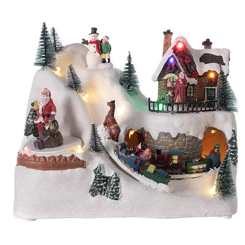 Animated Christmas village train sled horses LED music 20x25x15 cm 1