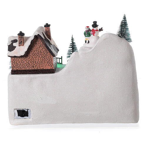 Animated Christmas village train sled horses LED music 20x25x15 cm 5