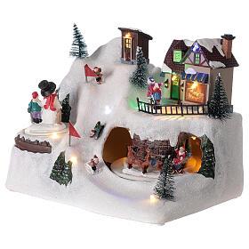 Christmas village animated skiers music LED lights 20x25x15 cm s3