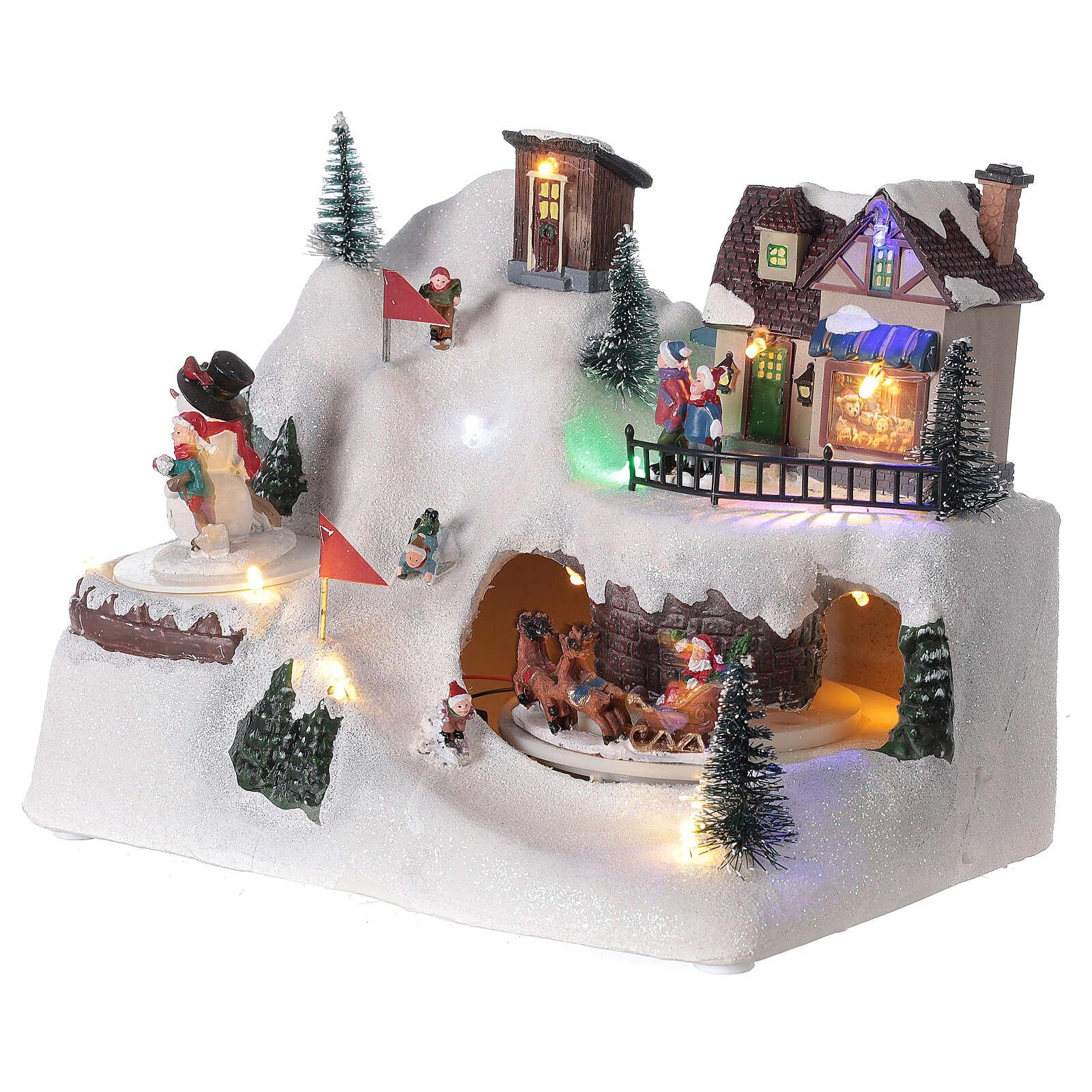 Villaggio albero Natale slittini luci musica 20x25x15 cm 3